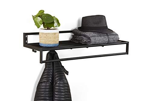 LIFA LIVING Schwarze Wandgarderobe aus Metall mit 5 Haken, Garderobe mit Ablage für die Wand, Kleiderhaken, Garderobenleiste, 75 x 26 x 19,5 cm