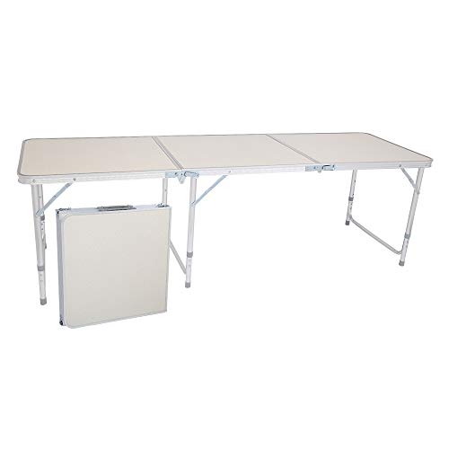 Henf 6 FT Aluminum Folding Table, Portable Camping Table Lightweight Foldable Table with Carry Handle, Height Adjustable for Party Picnic Dining Outdoor Indoor Use (White)