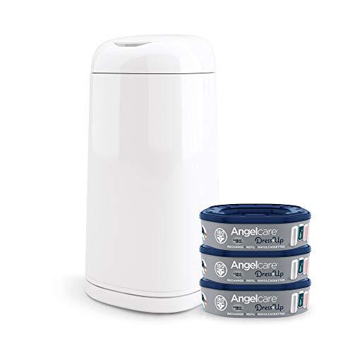 Angelcare Windeleimer + 3 Nachfüllpackungen gegen Gerüche, hohe Kapazität, antibakteriell, einfache Verwendung, Weiß