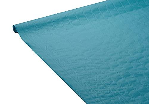 Le Nappage Nappe en Papier damassé 1,18x6m Bleu Canard, 1,18m x 6m