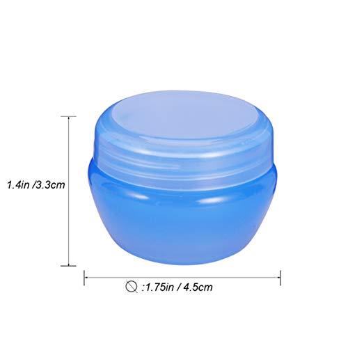 Minkissy 12Pcs Vides Conteneurs D'échantillons en Plastique Transparent Bouteilles de Crème Aux Champignons Compactes Conteneurs de Lotion pour Articles de Toilette de Maquillage de Voyage (Bleu)