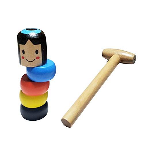 Holzpuppe Daruma Spielzeug Kleiner Mann aus Holz Neu lustigen Hölzernes magisches Spielzeug Magische Stütze des Halloween-magisches Spaßspielzeugstadium