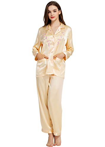 Womens Silk Satin Pajamas Set Sleepwear Loungewear Yellow XS