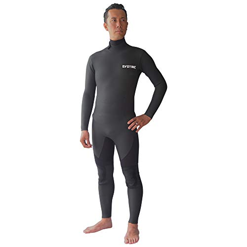 EVOTRIC セミドライスーツ ウェットスーツ メンズ 5/3mm バックジップ スキン ラバー Wネック 保温起毛素材 サーフィン セミドライ ウエットスーツ 5mm 日本規格 (BLACK, M)