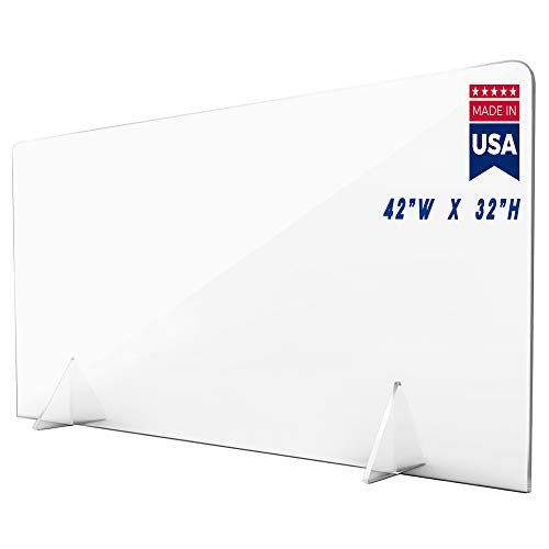 Protective Sneeze Guard Shield for Counter and Desk Freestanding for Business and Customer Safety, Portable Plexiglass Barrier, Shield and Guard for Business, School (42' x 32' 3/16' thk)