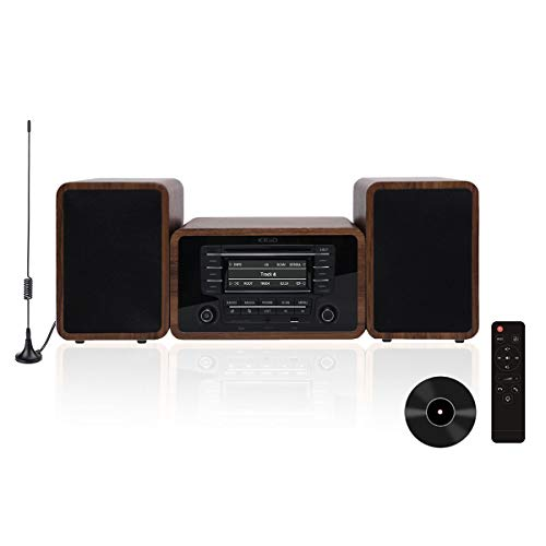 KEiiD Stereo Shelf System Powered with Bookshelf Speakers RMS 2X 25W for Home Audio Entertainment with CD Player and Bluetooth/FM Radio/USB/SD/AUX,Remote Control
