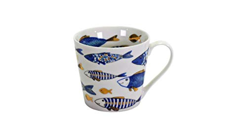 2x Becher Kaffeebecher Tasse 'Blue Fish' Fisch Blau Gold 400ml Geschirr Porzellan Kommunion Konfirmation Taufe