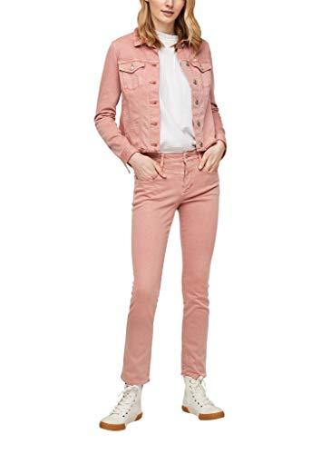 s.Oliver Damen Colored Denim-Jacke mit Fransen blush 36