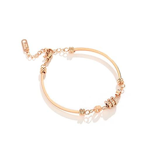 Pulseras para mujer, oro rosa, titanio, acero inoxidable, no se decolora, clásico salvaje de cuatro hojas, pulsera de trébol, regalo de joyería informal (color metálico: C)