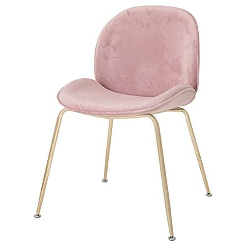 DPPAN Juego de 2 sillas de Comedor de Terciopelo, Silla Decorativa, sillón de Ocio Moderno, Silla de Sala de Estar, Silla de Escritorio para el hogar, Patas de Metal Dorado,Pink