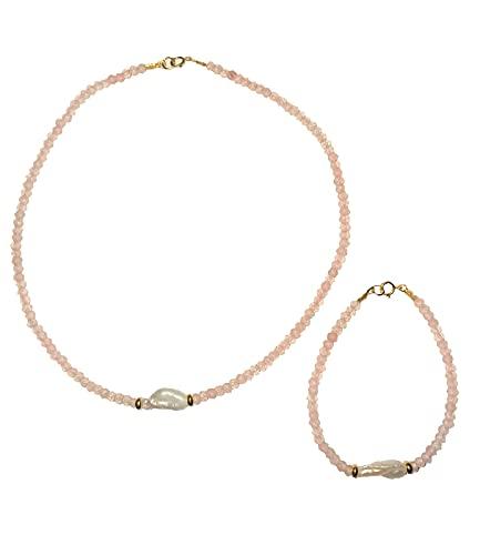 Collar y pulsera mujer en plata ley 925 con baño de oro, piedras naturales y perla barroca cultivada. ByAriadna. Hecho a mano. (Rosa)