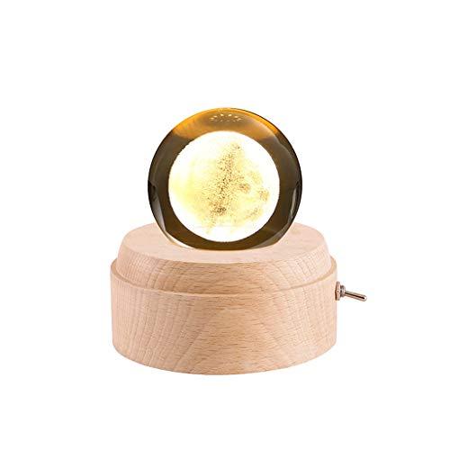 JJH Agraciado Caja de música Transparente de Madera Proyección Luminosa de Madera Bola de Cristal rotativo Cajas Musicales Música Caja de música Festiva para cumpleaños Sonido Atractivo