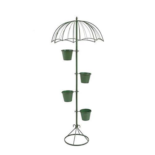 Bloemstandaard Vloer Creatieve Amerikaanse Zonnescherm Stands Woonkamer Groene Smeedijzeren Plantendeur (met Licht) (Kleur: Groen)