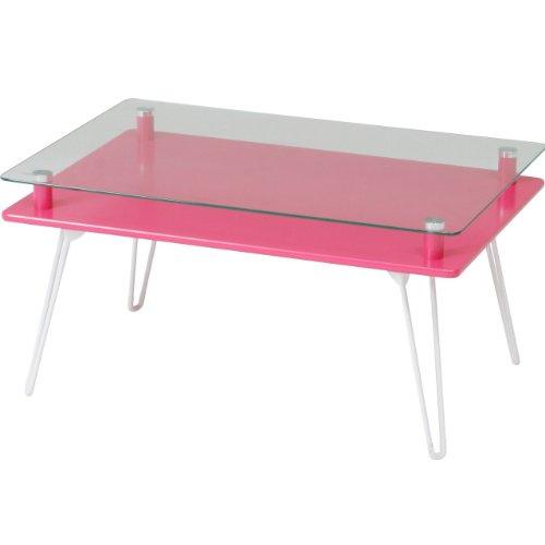不二貿易 ディスプレイ テーブル 折りたたみ 幅70cm 強化ガラス ピンク クラリス 84484