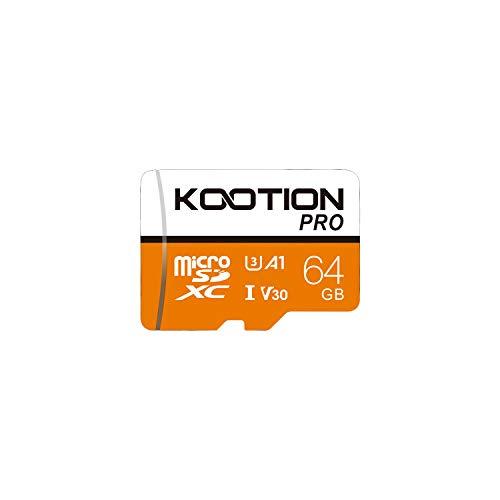 KOOTION Micro SD 64GB Scheda MicroSDXC Scheda Memoria 64G U3 Memory Card 64 Giga UHS-I A1 4K Memory Card Alta Velocità di Lettura Fino a 100 MB/s, Micro SD Card per Telefono,Videocamera,Gopro,Tablet