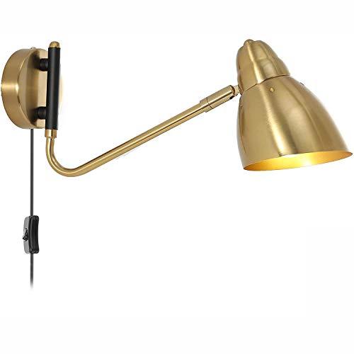 Wandleuchte Verstellbar Vintage Industrial Metall Wandlampe mit Stecker, Bettlampe Wand-Leselampen, 1,8 m Kabel mit Schalter, E27 Innen leuchte für Schlafzimmer Wohnzimmer Flur,Gold