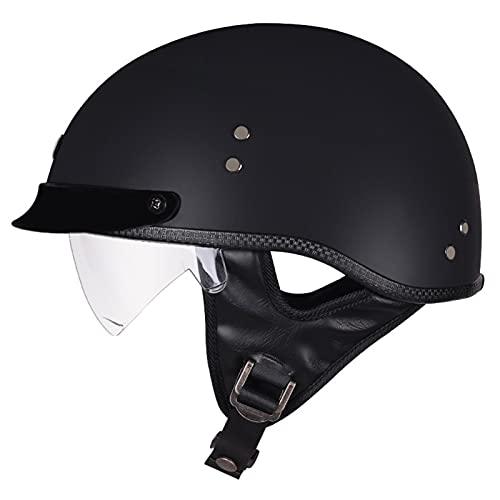 Jhwsxfc Casco Moto Jet Hombre Mujer Retro ECE Homologado Cascos Moto Half Helmet con Visera Casco Abierto per Moto para Scooter Mofa Crash (Color : B, Size : (M/57-58CM))