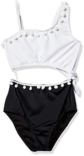 Heart And Harmony Mädchen Ruffle Shoulder One Piece Swimsuit Einteiliger Badeanzug, Schwarz/Weiß/Color Pop, 44 DE