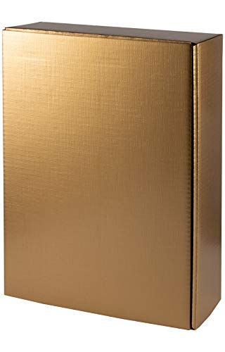 5 Stück/Set. Wein Flaschen Geschenkkarton 3er, Gold Seidenglanz mit Struktur