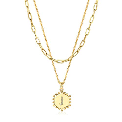 DHQH Layered Initial Necklaces for Women Girls,14K Gold Plated Paperclip Chain Necklace Adjustable Hexagon Letter Pendant Initial Layering Choker Necklace Jewelry Teen Girls Gifts