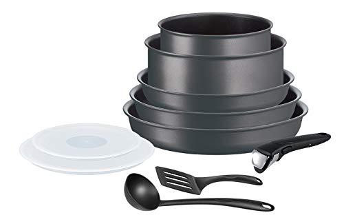 Tefal Ingenio Performance - Batería de cocina de 10 piezas para inducción, 3 sartenes, 2 tapas herméticas, 2 accesorios Bienvenue (espátula y espátula en Inglaterra), 1 mango extraíble L6859102