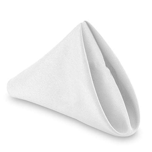 "Lann's Linens - 1 Dozen 20"" Oversized Cloth Dinner Table Napkins - Machine Washable Restaurant/Wedding/Hotel Quality Polyester Fabric - White"