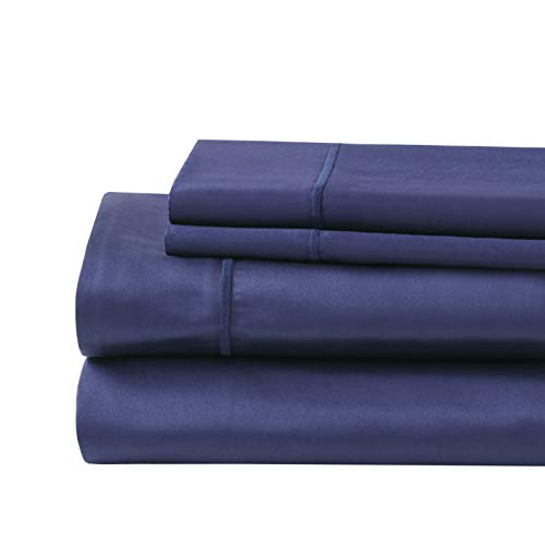 Hyde Lane 1000 Thread Count Luxury Cotton Bed Sheets | 4 Piece King Bed Sheet Set - Fitted, Flat Sheet & Pillowcases | Deep Pocket Stretches Up to 20 Inch to Easily Cover Large Mattress - Navy