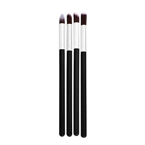 Toygogo 4pcs Pinceaux De Maquillage Professionnel Mis Poudre Base Fard à Paupières Fard à Joues Outil Cosmétique Pour Les Femmes - Noir argent