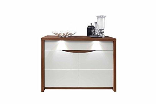 Furniture24 Kommode Saint Tropez STZK221B Schrank, Wohnzimmerschrank, mit 2 Türen, 1 Schubkästen, LED Beleuchtung