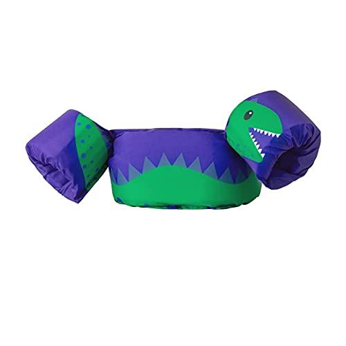 Chaleco de natación para bebé, chaleco de seguridad con brazaletes con hebilla segura, correa ajustable, flotadores de natación para niños y niñas de 1 a 6 años de 9 a 22 kg (morado/dinosaurio)