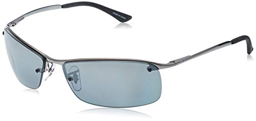 Ray-Ban Half Rim Sunglasses in Gunmetal Polarised Grey Silver Mirror - RB3183 004 82 63 RB3183 004 82 63