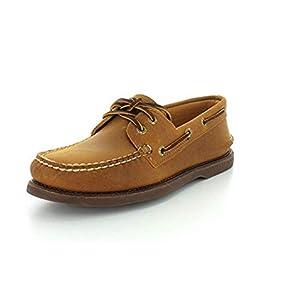 Sperry Top-Sider Men's Gold A/O 2-Eye Moc Toe Boat Shoe,Tan/Gum Full Grain Leath, 14