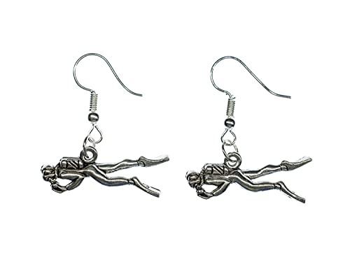 Miniblings Taucher Ohrringe Hänger Taucheranzug Tauchen Taucherausrüstung - Handmade Modeschmuck I Ohrhänger Ohrschmuck versilbert
