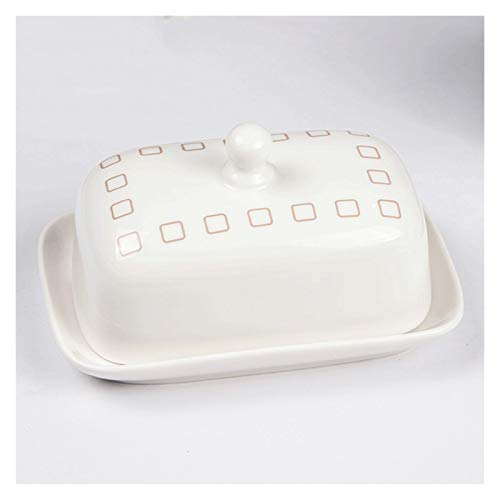 XIAOSAKU Butter Dishes Farmhouse Square Cover Butter Dish,Reinforced Procelain Butter Plate,5.5 Inch Cheese Butter Dish,White Dessert Tray Butter Dishes with Lid