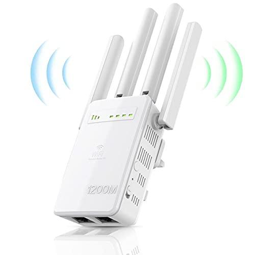 Repetidor WiFi 1200Mbps, 2.4 GHz|5Ghz, Amplificador Señal de WiFi Extensor, con Puerto Gigabit Ethernet,4 Antenas Externas,Modo Ap Compatible,Repetidor Inalámbrico con Botón WPS, Fácil de configurar