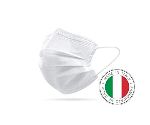 Mascherina chirurgica 3 strati CERTIFICATA, Made in Italy, dispositivo medico classe 1, elastici extra-comfort, 50 pz