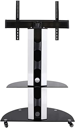 Generalmente rotativo piso tv, marco de TV móvil con estante de la rueda, inclinación horizontal +/- 25 °, almacenamiento doble, carrito portátil