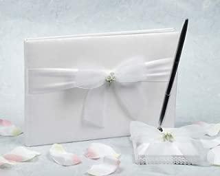 Calla Lily Bouquet Wedding Guestbook and Pen Set: Set Color: White/Silver Pen