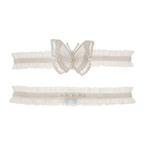 Afrsmw Liga Novia Blanca Ligas de Boda Blanca con decoración de Mariposa...
