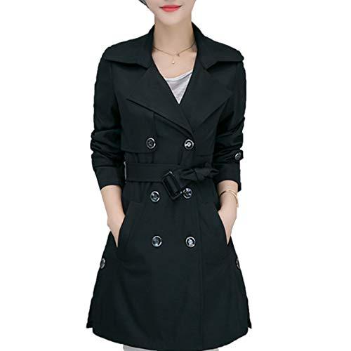 Elonglin Damen Trench Mantel Zweireiher Trenchcoat Elegant Vintage Mit Gürtel Übergangs Schwarz-A M