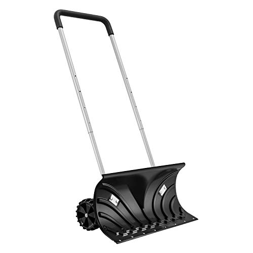 """Rolling Snow Pusher with 6"""" Wheels and Adjustable Handle, Heavy-Duty Snow Shovel Suitable for Driveway or Pavement Clearing 26"""" Blade"""