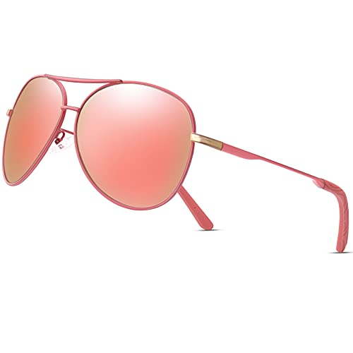 Aviator Sunglasses for Men Women Polarized UV400 Protection Mirrored Lens Metal Frame with Spring Hinges