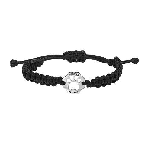Bracciale donna uomo in filo nautico Dexter colore nero, bracciale uomo donna con gioiello simbolo ZAMPA in argento,braccialetto unisex artigianale italiano, bracciale idea regalo con chiusura a nodo
