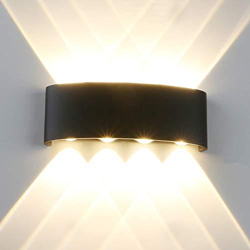 Yosoan LED-Wandleuchte Up&Down Wandleuchte Außenwandleuchte inkl. 8x 1W warmweiß Lichtstrahl Leuchtmittel Außenleuchte Außenlampe Wandlampe für Innen und Außen (8 * 1W 3000K)
