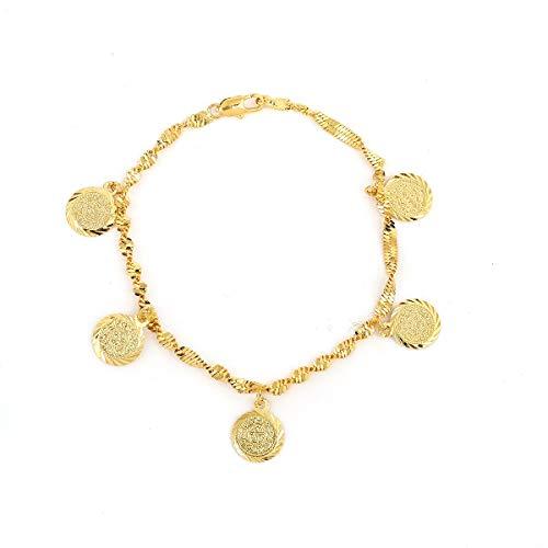 Inveroo Oro Color De La Moneda Pulsera Islámica Musulmana Religiosa Árabe Monedas Pulsera para Mujeres Hombres Niñas Joyería