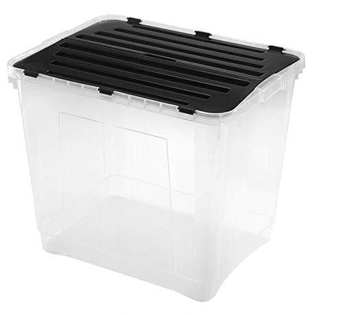 Heidrun 3 Stück Dragon Box 42 Liter - mit geteiltem Deckel - 49 x 36 x 24 cm - transparent/schwarz