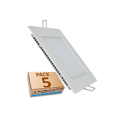 Pack 5x Panel LED Cuadrado Empotrar. 18W. Color Blanco Frio (6500K). 1600 lumenes. Driver incluido. A++