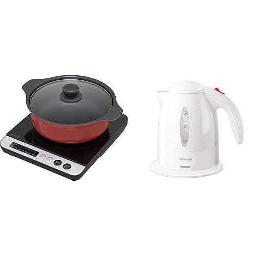 【セット買い】アイリスオーヤマ IHクッキングヒーター 鍋セット 1400W ブラック/レッド IHKP-3524-B/R & アイリスオーヤマ 電気ケトル ホワイト IKE-1001-W セット