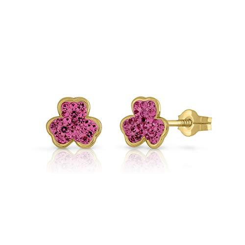 Pendientes oro de ley certificado trebol color rosa. Con cierre de presión. Medida 7 mm.(4-7094)