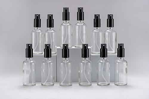 Yizhao Transparente Pulverizador Cristal 50ml, Glass Spray Bottles con [Atomizador],para Aceites Esenciales, Mezclas de Aromaterapia, Perfumes, Masajes, Líquidos Químicos, Farmacéutico– 12Pcs